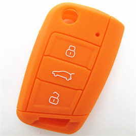 COQUE SILICONE ORANGE CLE PILP VOLKSWAGEN GOLF 7