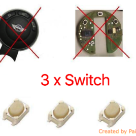 3 BOUTONS SWITCH COQUE CLE PILP MINI AUSTIN