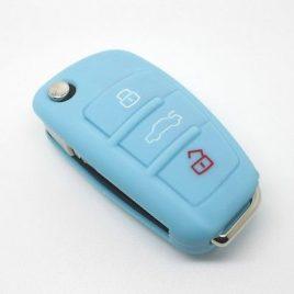 COQUE HOUSSE SILICONE CLE PILP AUDI Q7, A3,A4,A6,A6 QUATTRO,A8, TT,S6 BLEU CLAIR