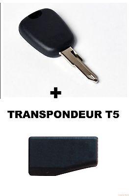 CLE DE SECOURS PEUGEOT + TRANSPONDEUR T5 + LAME DE CLE NE73